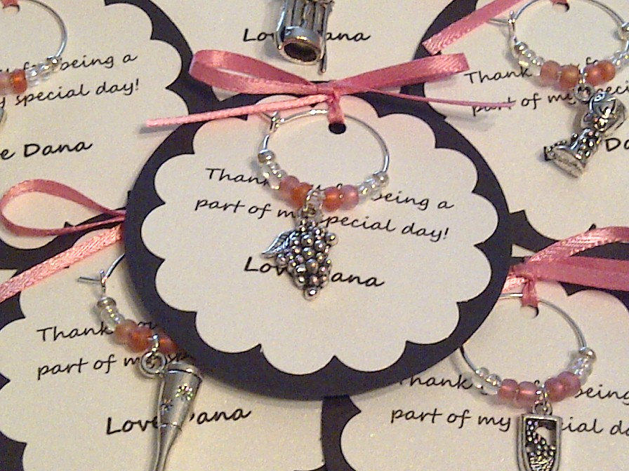 Custom Wine Themed Charm Favors - Weddings, Bridal Shower, Rehearsal Dinner, Anniversary, Birthday Party Or Special Event