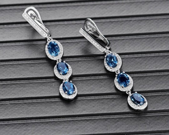 London Blue Topaz Earrings, 925 Sterling Silver Earrings. Topaz Drop Earring, Women Gift Earring, Wedding & Engagement Jewelry, Bridal Jewelry