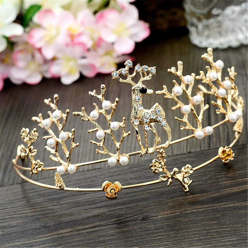 Elk Tiara, Pearl Wedding Tiara, Gold Tiara, Bridal Tiara, Wedding Crown, Animal Jewelry, Bridal Tiara, Vintage Pearl Crown, Cute Crown