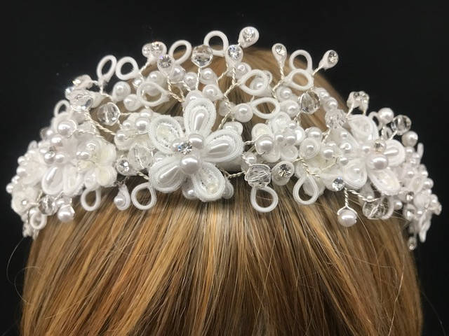 Bridal Wedding Tiara with Swarovski Rhinestones & Hand Twisted Design Featuring Looped Satin & Beads, Gorgeous Tiara, Wired