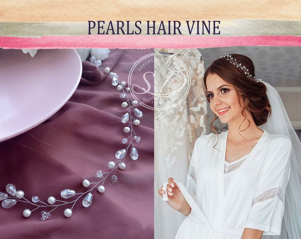 Crystal Pearl Hair Vine Wedding Tiara Bridal Headpiece Babys Breath Hair Piece Rose Gold Vine Crystal Headband Delicate