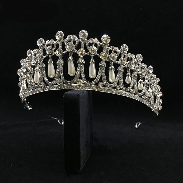 Cambridge Lover's Knot Princess Diana Wedding Tiara Replica Pearl Bridal Beautiful Royal Pageant