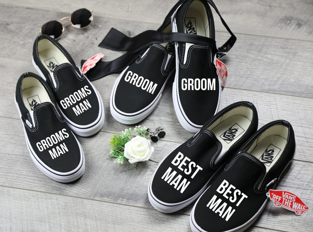 Groom Shoes, Best Man Sneakers, Groomsman Black Vans Slip On, Bridal Party Gift, Custom Wedding Day Shoes