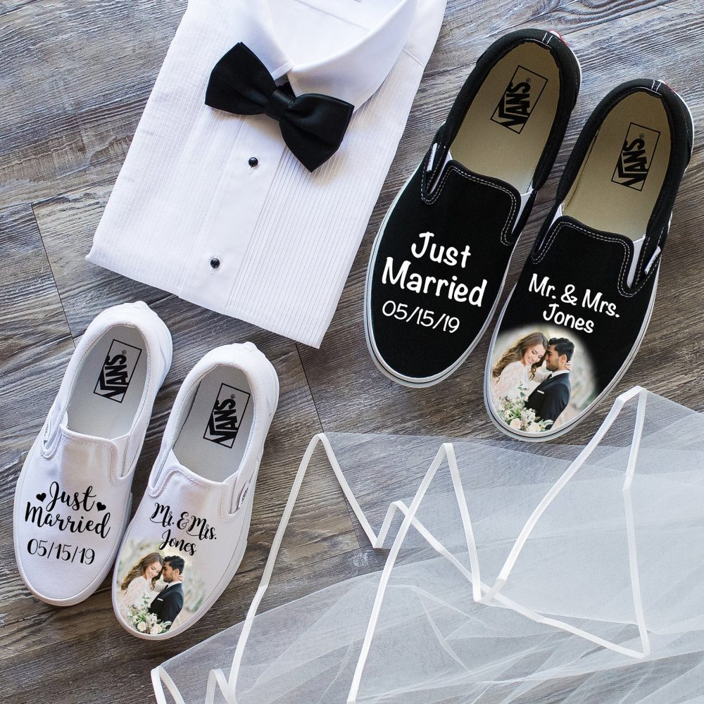 Just Married Couples Wedding Vans Shoes, Bride & Groom Gift, Wedding Anniversary, Bridal Shower, Shoes For Women, Sneaker Art