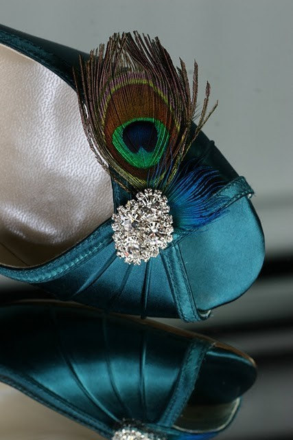 Wedding Shoes - Wedge Peacock Teal Blue Dyeable Choose From Over 200 Colors Shoe With Feathers