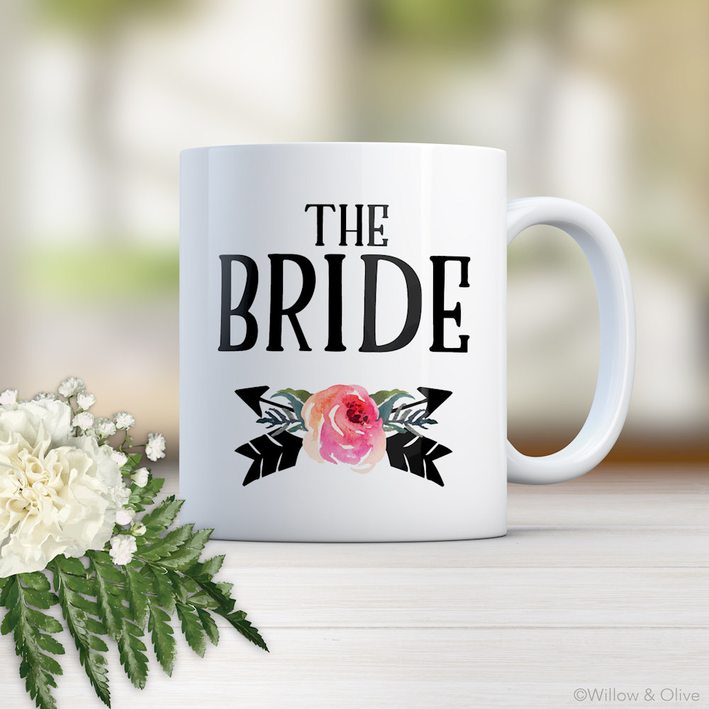 The Bride Mug, Bridal Wedding Day Gift For Bride, Engagement Party Personalized Mug Cup W0019K