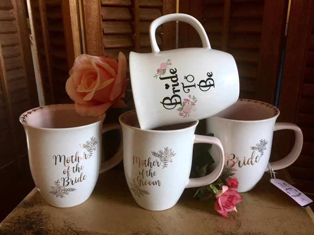 Wedding Coffee Mug Gift Set Bride To Be Mother Of Groom Mom Mrs Favors Squad Engagement Bridal Shower Gold Pink Cup Floral Rose Quote