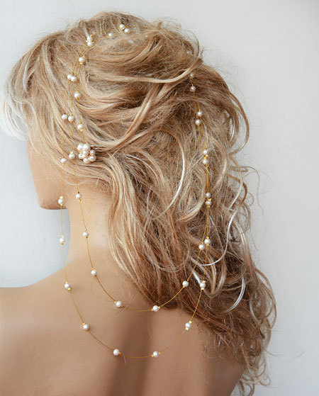 Wedding Pearl Headband, Long Bridal Hair Vine, Accessories For Bride, Gold Color With Wire Piece, Prom Dress