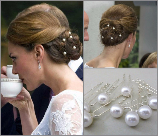 Set Of 10 Kate Middleton Bridal Pearl Hairpins, Wedding Hair Pins, Bridal Hairpins, Wedding Hairpin, Pearls Bobby Pins, Celebrity Style