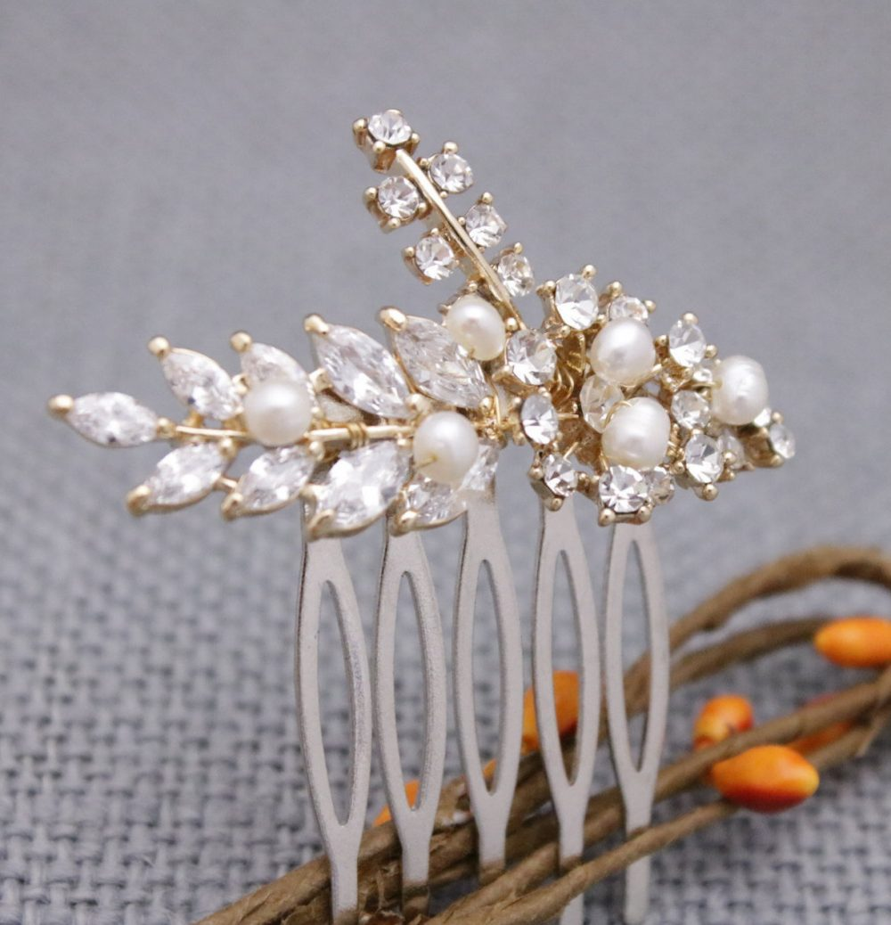 Wedding Comb For Bride Wedding Hair Gold Pins Accessories Pearl Bridal Piece Vintage Style