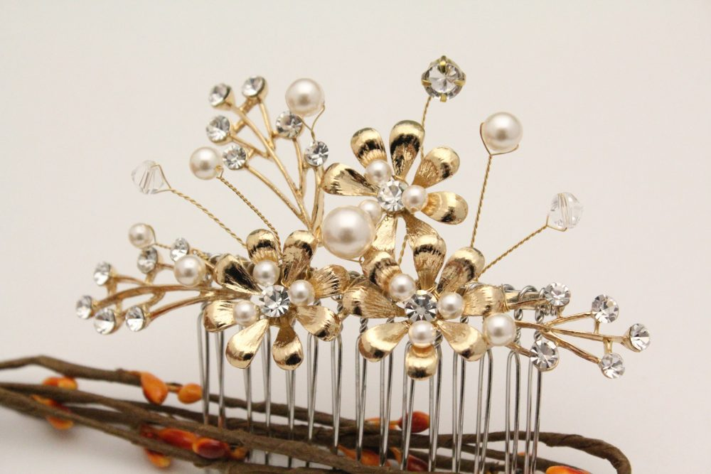 Bridal Comb Gold Wedding Hair Pearl Piece Accessories Headpiece Silver, Gold, Rose Gold Hairpin