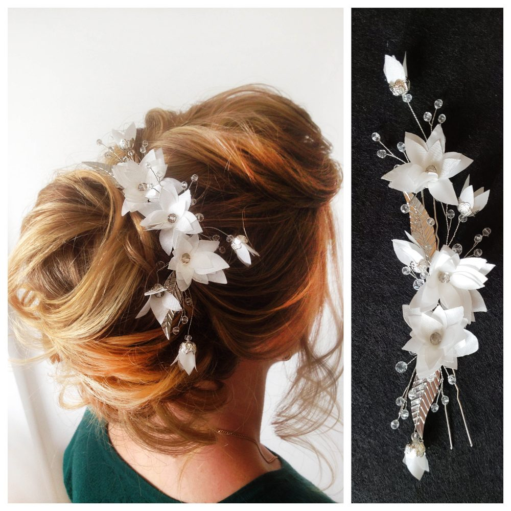 Bridal Hair Comb Wedding Hair Comb Pin Crystals Headband Jewelry White Pearl Headpiece Vine