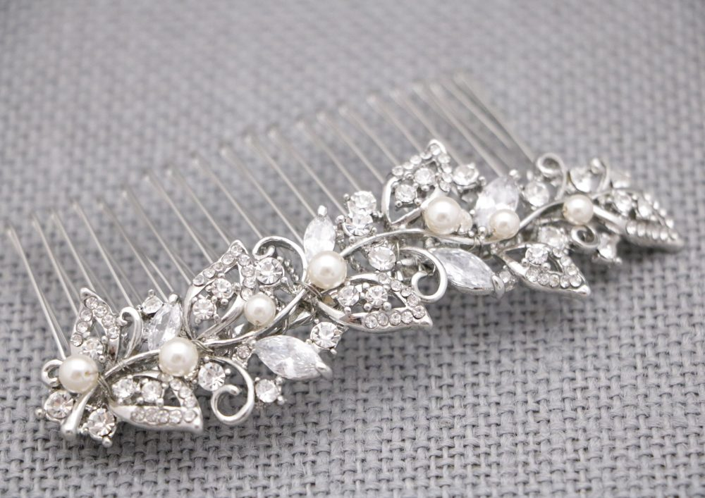 Bridal Comb Hairpiece Gold Wedding Hair Pearl & Crystal Pieces For Accessories Rhinestone Bridal Pin