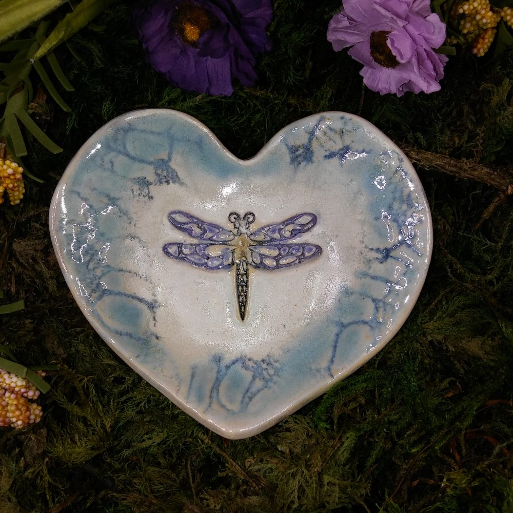 Wedding Band Bowl with Dragonfly-Ceremonial Dish For Wedding-Heart Bowl-Pill Dish-Spoon Rest-Hearing Aid Dish-Tea Bag Dish-Brillo -Valentine