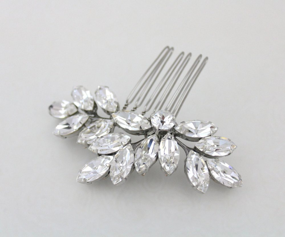Crystal Bridal Hair Comb Leaf Rhinestone Wedding Clip Accessories Swarovski Crystal Headpiece