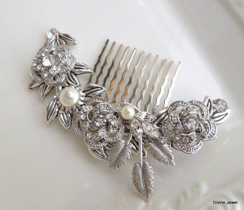 Pearl Hair Comb, Bridal Wedding Accessories, Rhinestone Hair Comb, Swarovski Crystal Comb Vintage, Roselani