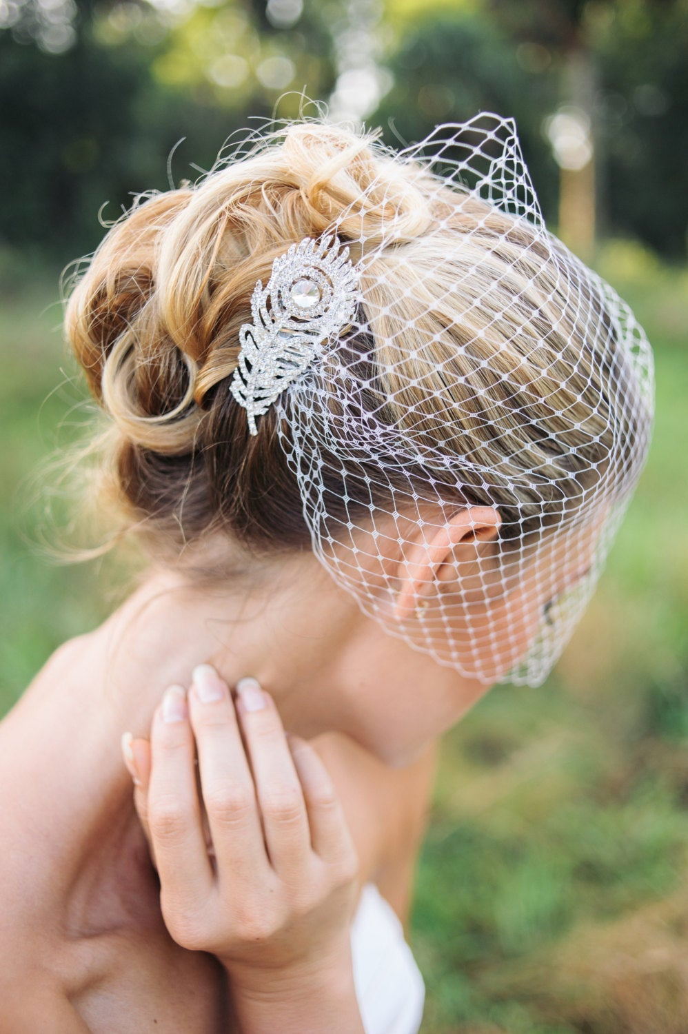 Veil, Birdcage Veil With Peacock Rhinestone Comb, Bridal Veil, Wedding Crystal Birdcage, Hair Comb - Orsa