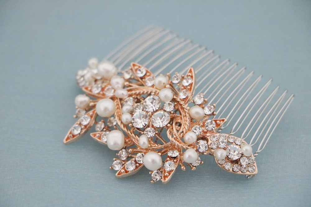 Bridal Comb Rose Gold, Rhinestone Comb, Bridal Crystal, Wedding Crystal Hair Comb, Comb, Wedding Headpiece Gold Hair Comb Pearl