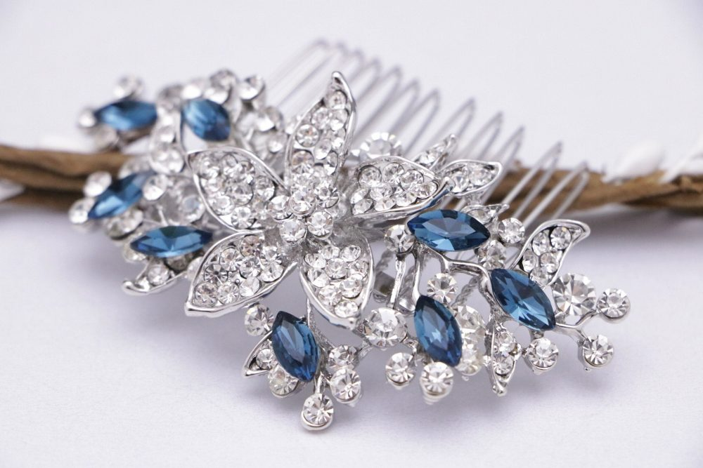 """Wedding Hair Comb Vintage Inspired """"Something Blue"""" Or Any Colour Crystal Rhinestone Hair Comb, Wedding, Bridal Comb, Bridesmaid Hairpin"""