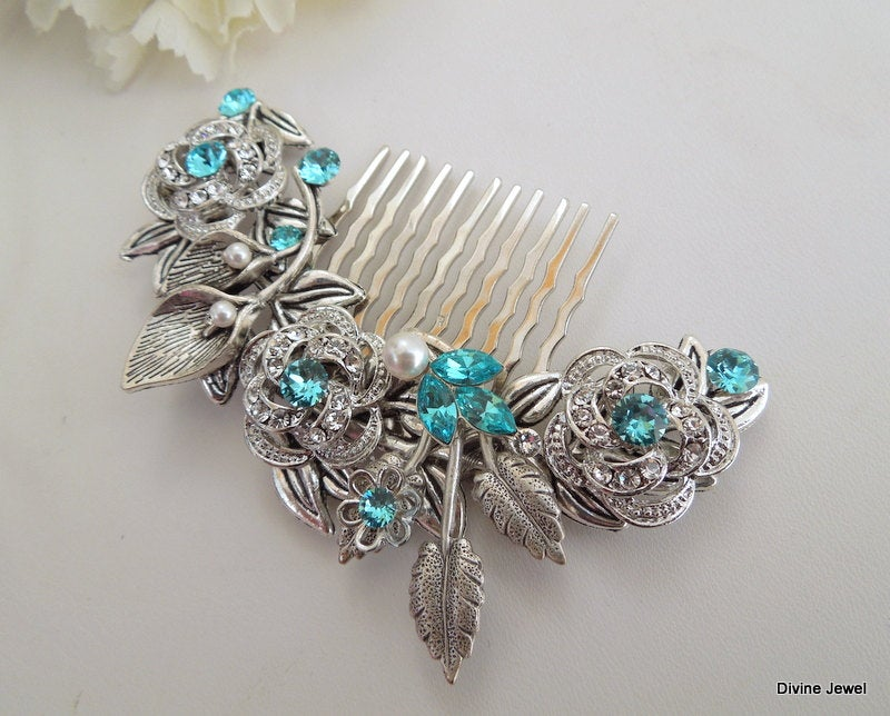 Bridal Hair Comb, Wedding Accessories, Rhinestone Hair Comb, Comb Vintage, Swarovski Pearl Pearl, Roselani