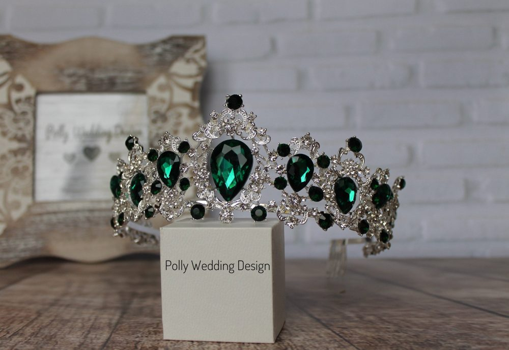 Emerald Tiara With Earrings , Silver For Child, Royal Crown, Crystal Tiara, Bridal Tiara, Crystal Wedding Crown, Rhinestone Tiara