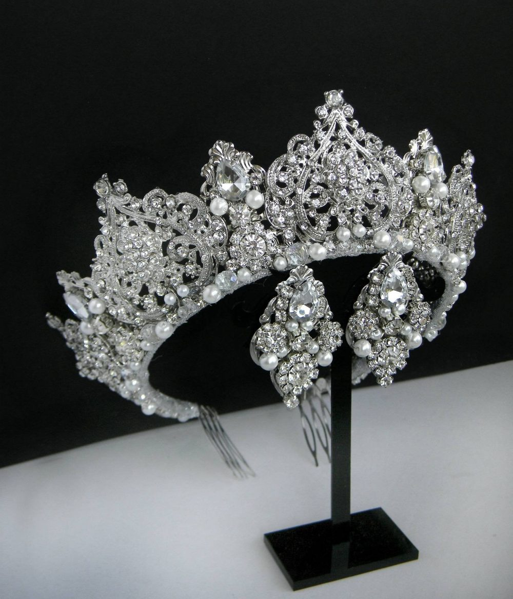 Bridal Crown Wedding Crystal Royal Tiara Rhinestone Headband Queen Crowns & Tiaras Swarovski Pearl