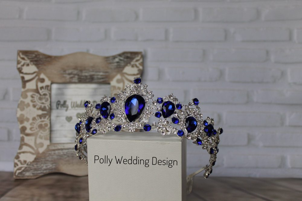 Blue Tiara With Earrings, Tiara For Child, Royal Crown, Crystal Tiara, Bridal Tiara, Crystal Wedding Crown, Rhinestone Tiara, Tiara, Diamante Crown