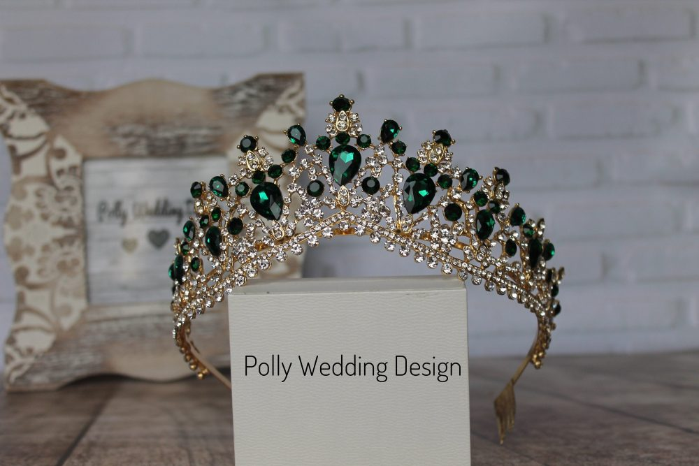Emerald Tiara With Earrings , Gold Tiara, Royal Crown, Crystal Tiara, Bridal Tiara, Wedding Crown, Rhinestone Tiara, Diamante Crown