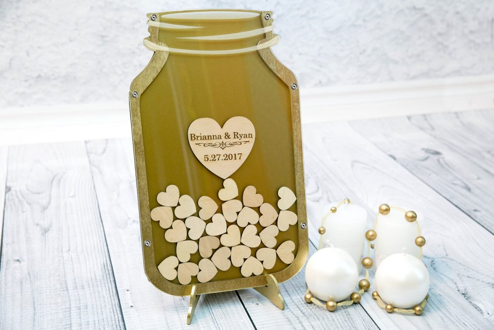Alternative Guest Book, Wedding Mason Jar, Guestbook Golden Guestbook, Drop Top Custom