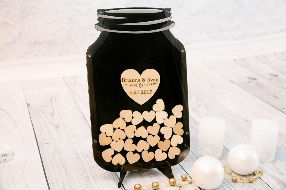 Mason Jar Guest Book Wedding Guestbook Black Frame Custom Alternative Wedding Drop Top Guestbook