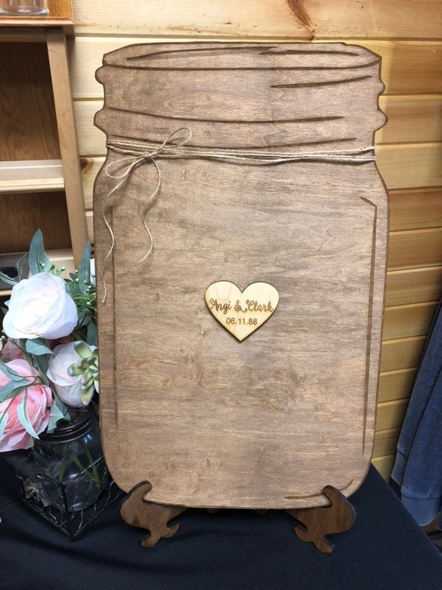 Mason Jar Guest Book. Wedding Book Alternative. Wooden Rustic Personalized Engraved