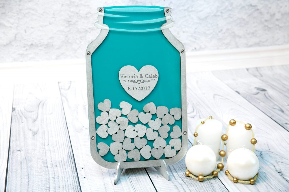 Mason Jar Guest Book Wedding Book Guestbook Alternative Drop Box Guest Top Silver Sweet 16Th