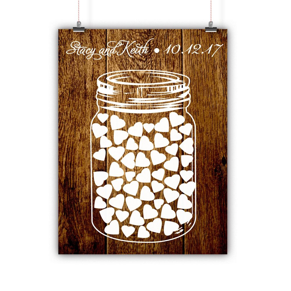 Personalized Wedding Mason Jar Guest Book Alternative, Rustic Alternative Print, Framed Or Canvas, 50 Signatures
