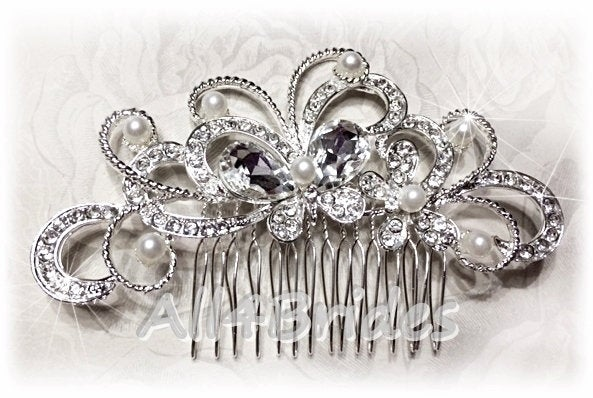 Wedding Bridal Butterfly Crystal Hair Comb, Rhinestone Comb