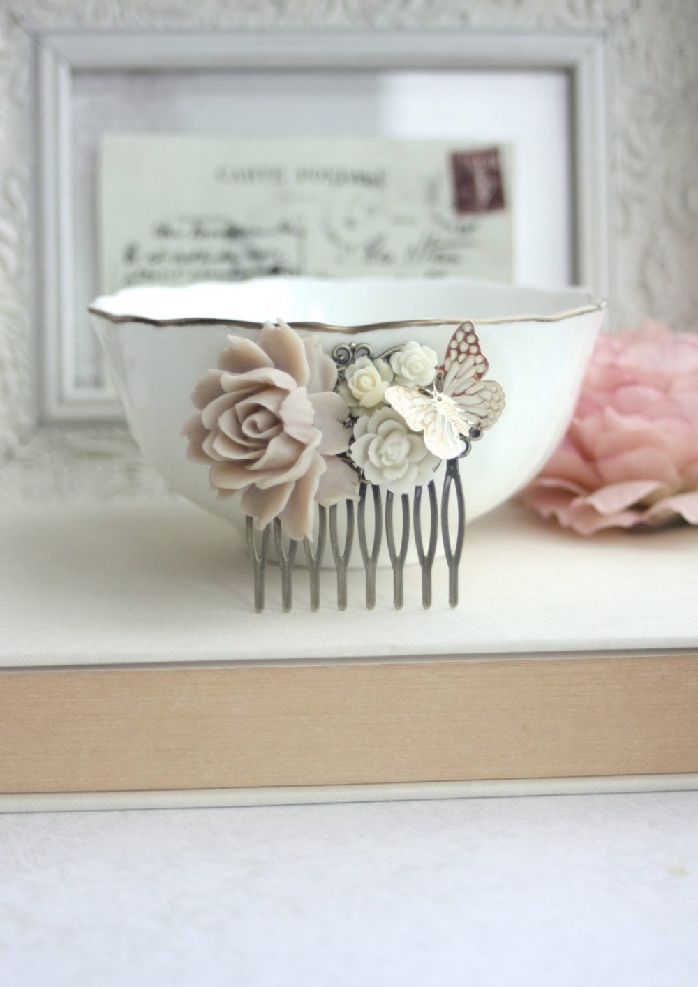 Gold Butterfly Wedding Hair Comb. Taupe Brown Rustic Ivory Veil Comb, Vintage Inspired Rose Bridesmaids Gift, Garden Wedding
