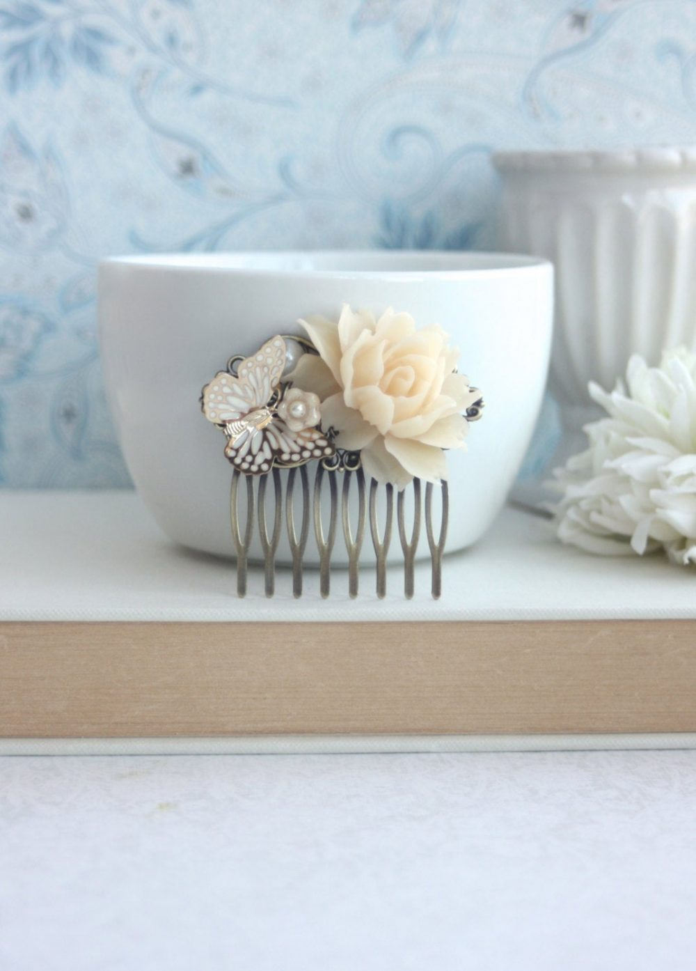 Ivory Rose Flower Butterfly Hair Comb. Floral Rustic Clip. Bridal Wedding Hair, Vintage Inspired. Bridesmaids Gift. Summer Garden