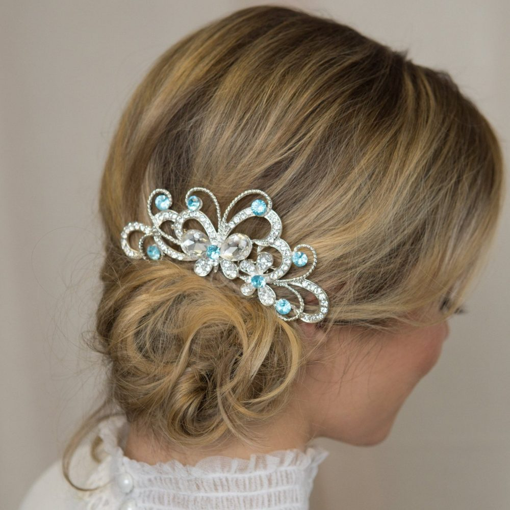 Butterfly Hair Clip Blue Silver Piece Flower Girl Accessories Wedding Hair-Comb Crystal Bridal Accessory Light Comb