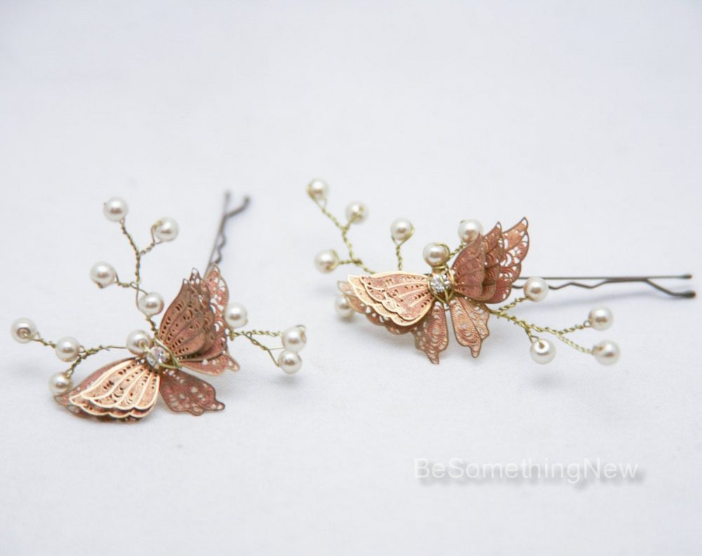 Wedding Hair Pins Butterfly & Champagne Pearl Bridal Pin Set, Brass Bobbie Jewelry Beaded Headpiece