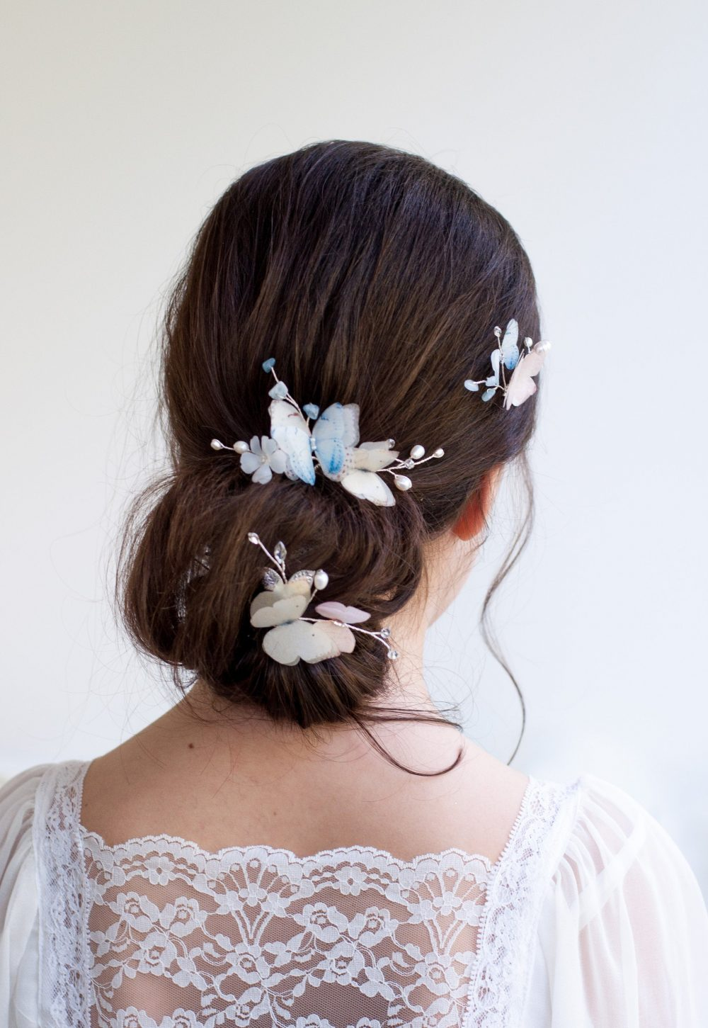Wedding Hair Piece Blue Butterflies Headpiece Ivory Hair Accessories Multi-Colored Comb Flower Back Bridal Vine Pearl