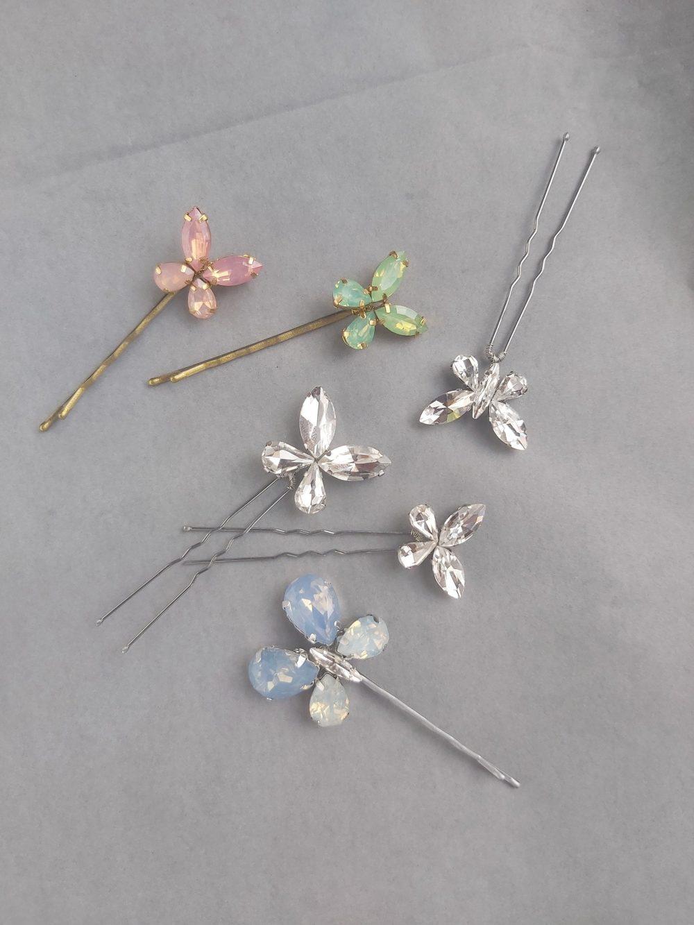 Butterfly Wedding Hair Piece Fairy Bride Accessory Crystal Pin Green Bobby Pins Gift Moonstone Clear Quartz Fluorite Rose