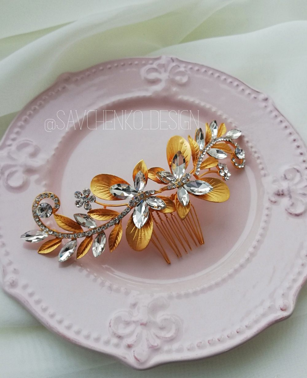 Butterfly Bridal Hair Comb|Butterfly Headpiece|Rhinestone Piece|Wedding Jewelry|Nature Accessories|Tocado Novia|1920S Headpiece