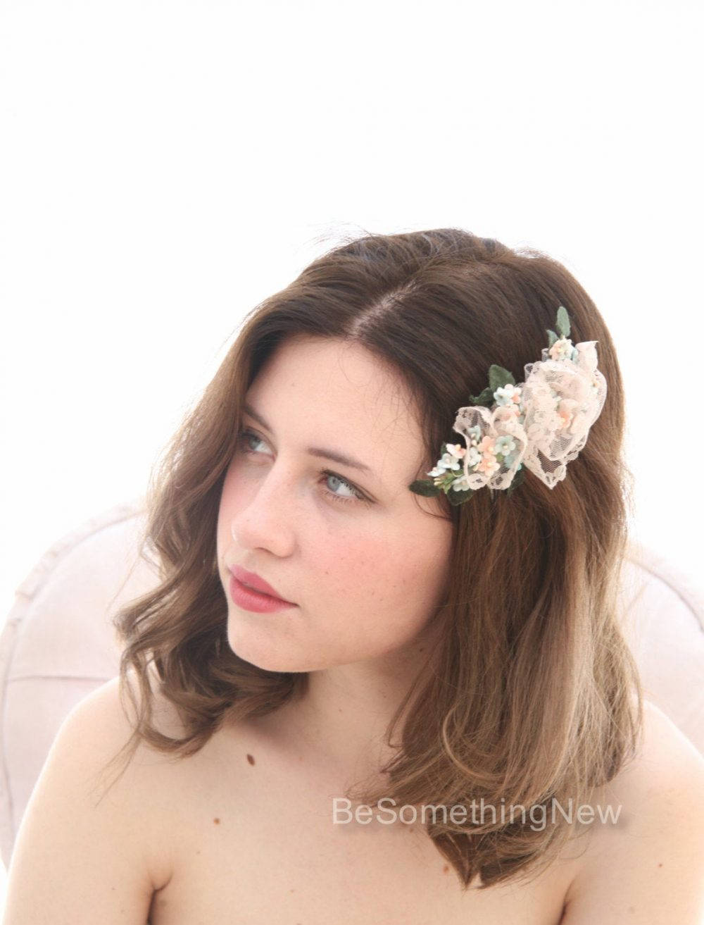 Sale Wedding Flower Hair Comb Of Vintage Flowers & Lace, Bridal Headpiece, Blush Pink Clip
