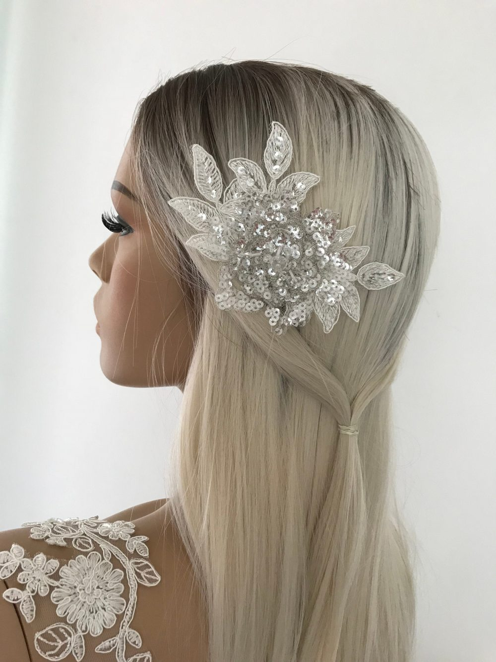 Hair Accessories Bridal Lace Comb, Sequin Crystal Beaded Lace Comb, Accessory, Hairpiece, Wedding Accessories