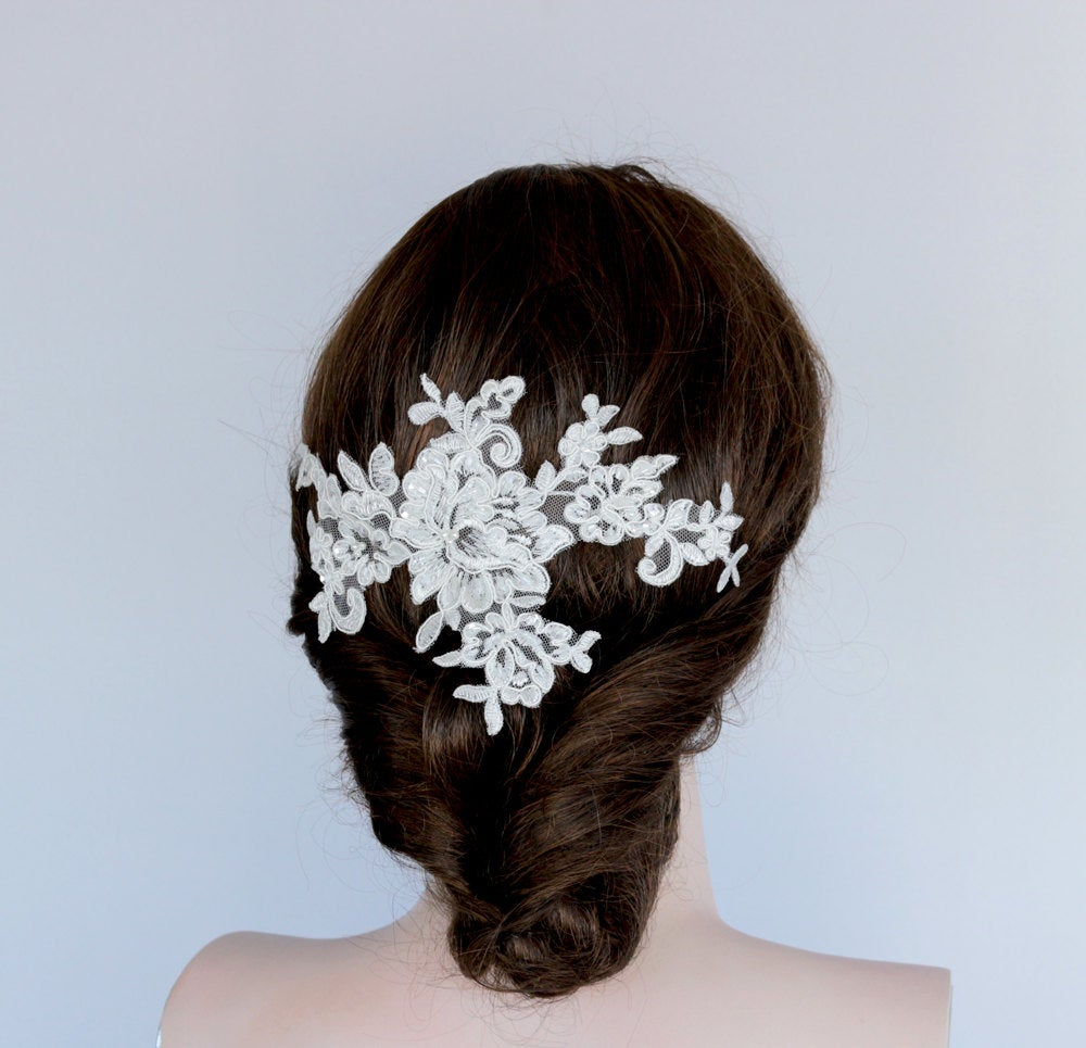 Bridal Floral Hairpiece, Applique Lace Fascinator, Wedding Hair Flower, Back Drop Decorative Comb, Off White Pearl Head Piece