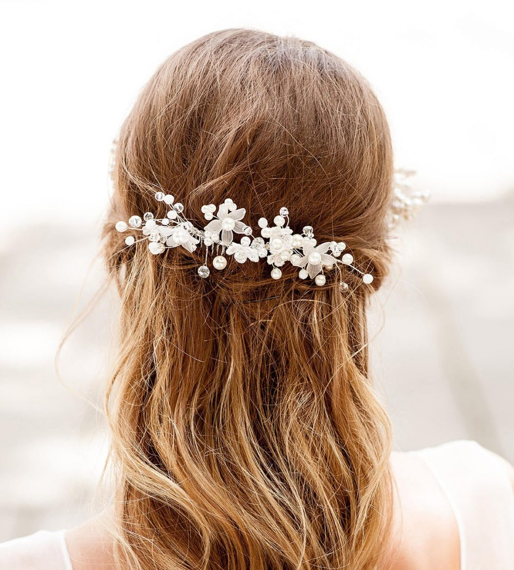 Lace Wedding Flower Hair Vine Comb. Homemade Comb For Bride. Vintage Look Boho Weddings Vine. Pearl