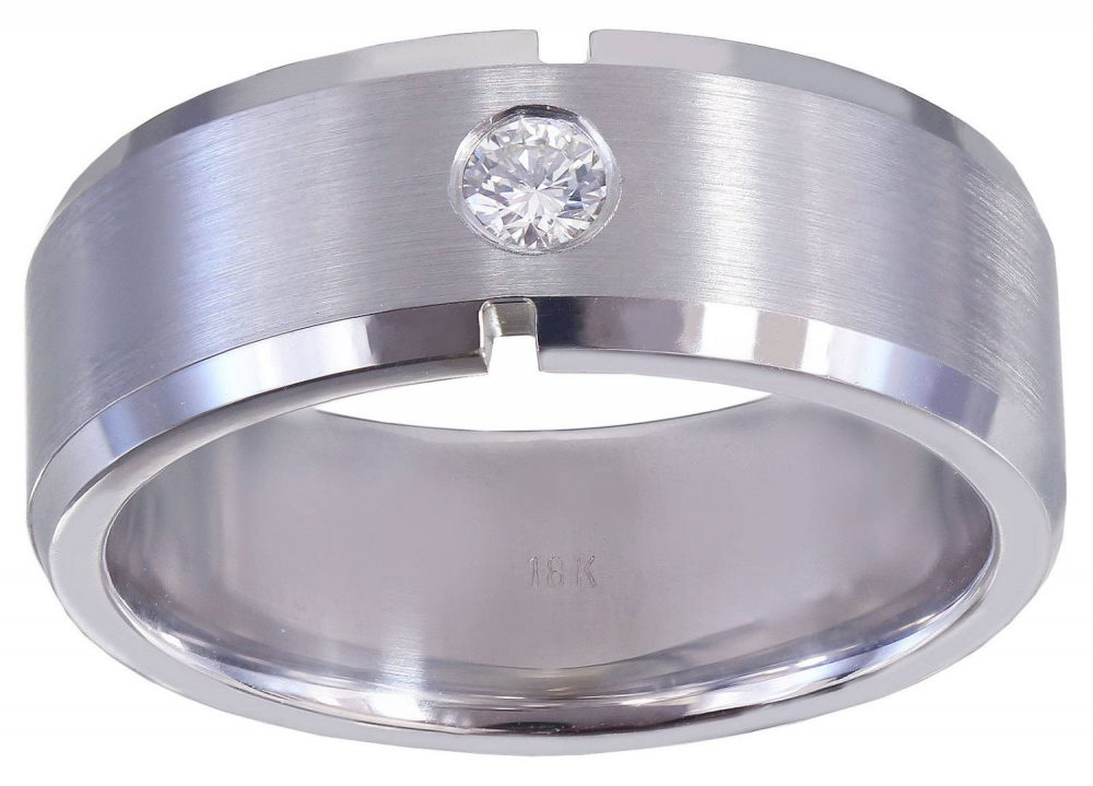 10K White Gold Round Cut Diamond Mens Band 8mm Width Brushed Polished Wedding, Anniversary Bridal, Natural Diamonds 0.15Ct