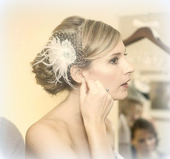 Wedding Hair Clip, Bridal Facsinator, Accessories, Flower Lace Comb, Floral Brides Combs