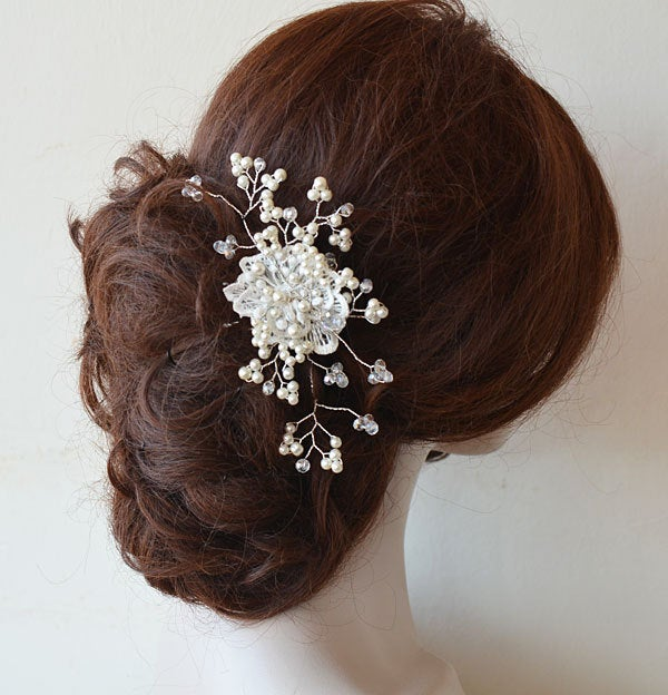 Bridal Hair Lace Comb, Wedding Pearl Headpiece, Accessories