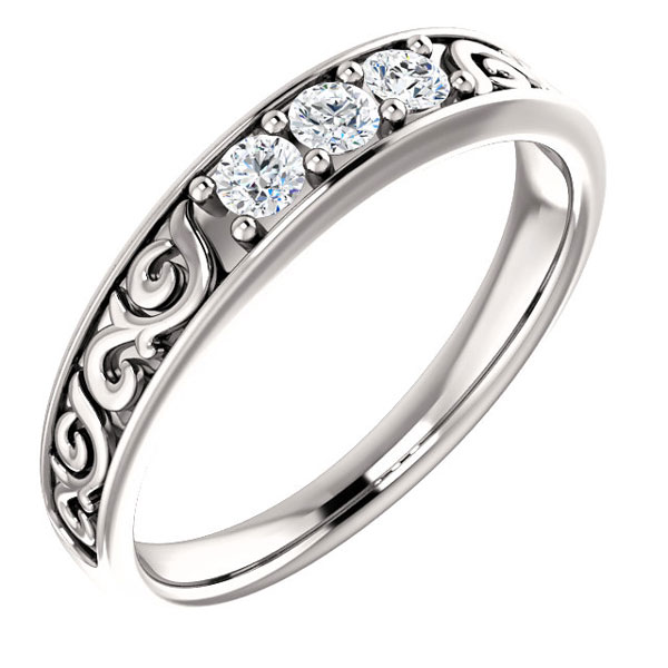 Men's 14K White Gold 3-Stone Paisley Diamond Wedding Band Ring