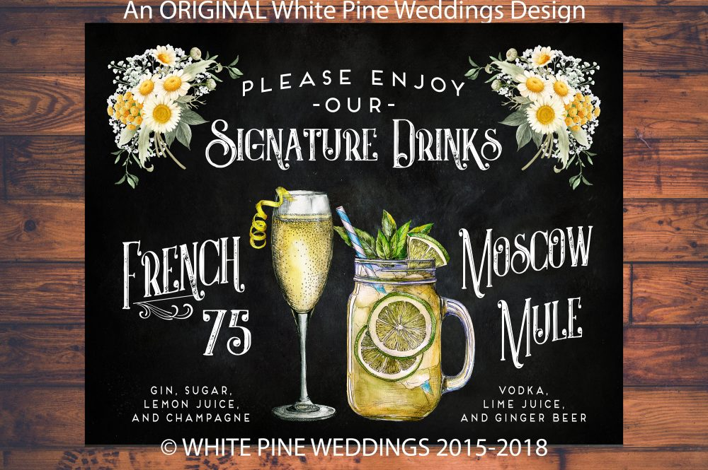 Sunflower Daisies Wedding Signature Drink Sign, French 75 Cocktail Sign, Moscow Mule Wedding, Mason Jar Drinks